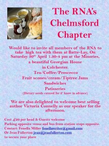 The flyer for the Afternoon Tea in Colchester