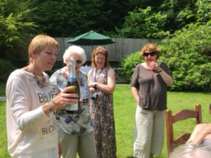 Bev and bottle, Julie Roberts, Katie Carr and Catherine Jones