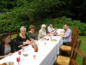 Rebecca Leith, Maggi Fox, Catherine Jones, Julie Roberts, Billy and Catherine Lawless wait while the others get their food