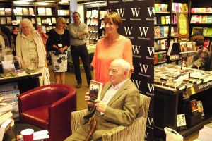 With Colin Dexter at the launch of The Road Back in Waterstones Oxford