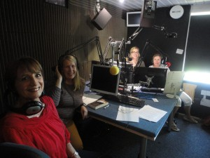 With Chrissy Hayes, Clare Bones, Vanessa Woolley and a lot of microphones